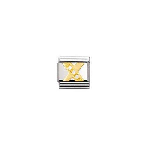 Nomination Lettre Composable classique X Femmes en acier inoxydable, K or et Zircon