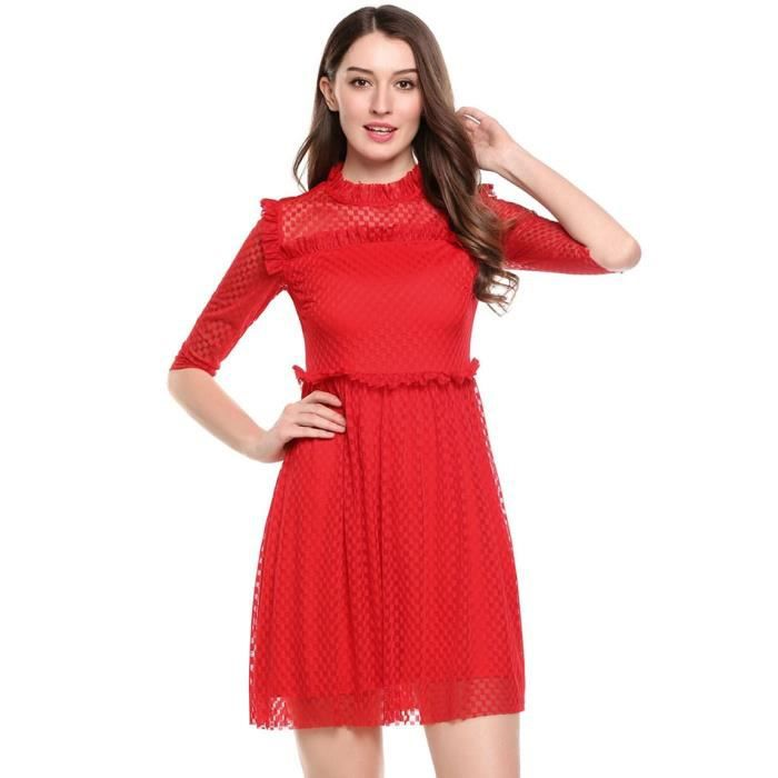 Robe a-line Femmes mode manches 3-4 Patchwork O cou volants maille genou longueur