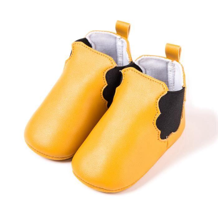 Jaune- Chaussures de bébé Automne et hiver Chaussures de bébé PU Bande élastique Bottes bébé
