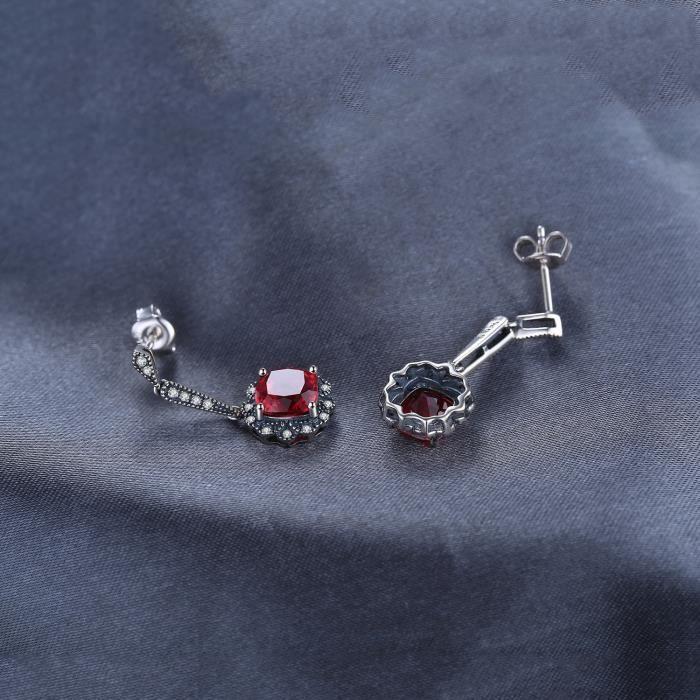 JewelryPalace Vintage 4.5ct Carré Rubis de Synthese Drop Boucles doreilles Argent 925 Sterling