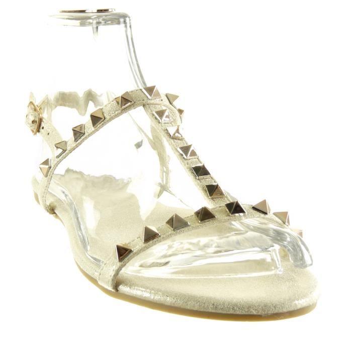 Angkorly - Chaussure Mode Sandale salomés femme clouté boucle doré Talon plat 1 CM - Or - 2017-02 T 41