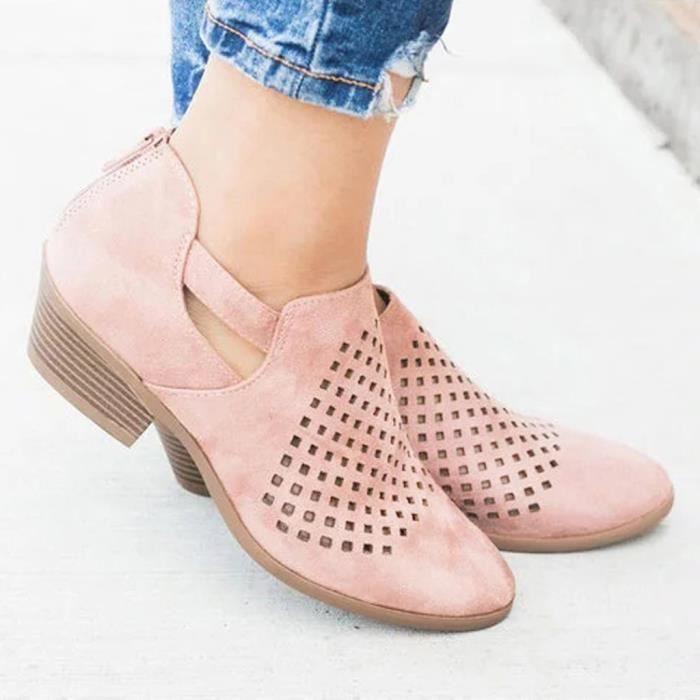 Mode Cuir En Cheville Printemps 2998 Évider Bottes Chaussures Courtes Femmes Veberge HqSBwTH