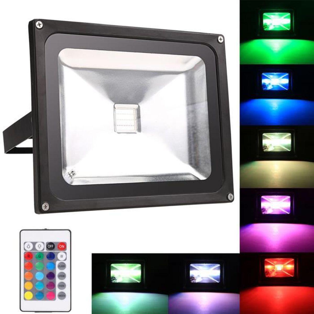 Lampe De Jardin 30w 10w Rgb Leds Spot Extérieur Réverbère Avec Télécommande
