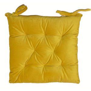 COUSSIN DE CHAISE  Galette de chaise velours 8 points 40x40 cm jaune