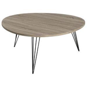 Melbourne table basse ronde scandinave en mdf placage ch ne verni et m tal noir 90x90 cm - Table basse scandinave noire ...
