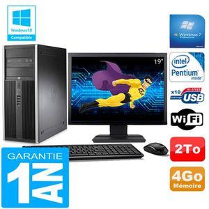 UNITÉ CENTRALE + ÉCRAN PC Tour HP Compaq 8200 Intel G630 Ram 4Go Disque 2