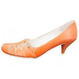 ESCARPIN spiral - escarpins orange en cuir femme spiral e33