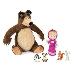 FIGURINE - PERSONNAGE MASHA & MICHKA Simba Poupee Masha & Michka + Anima