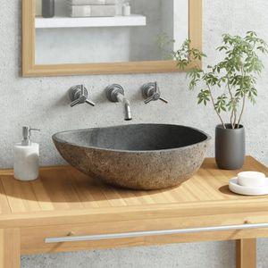 SIPHON DE LAVABO vidaXL Lavabo en pierre de rivière Ovale 40-45 cm