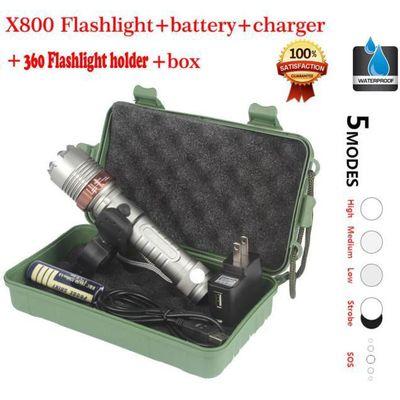 Lampe Zoomable T6 De Poche Avec 18650 Tactique X800 Xml Batterie Led R54ALj