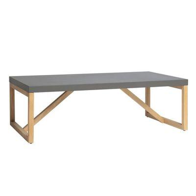 Table basse rectangulaire Gris/Bois - MILAN - L 110 x l 60 x H 35 ...