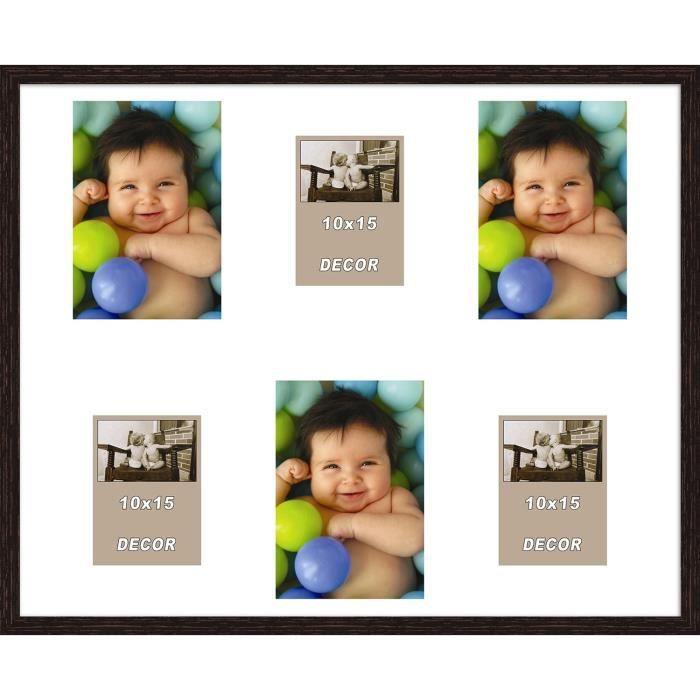 ERIKA Cadre photos pêle-mêle 6 vues 40x50 cm Wengé