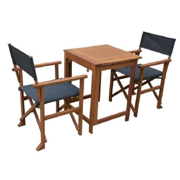 Set bistrot - Ensemble repas de jardin en bois - Table 70x  70 cm + 2 chaises  -  Acacia FSC & Texti
