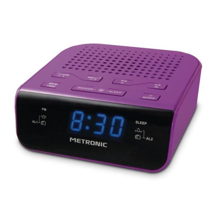 MET 477012 Radio réveil Pop Purple
