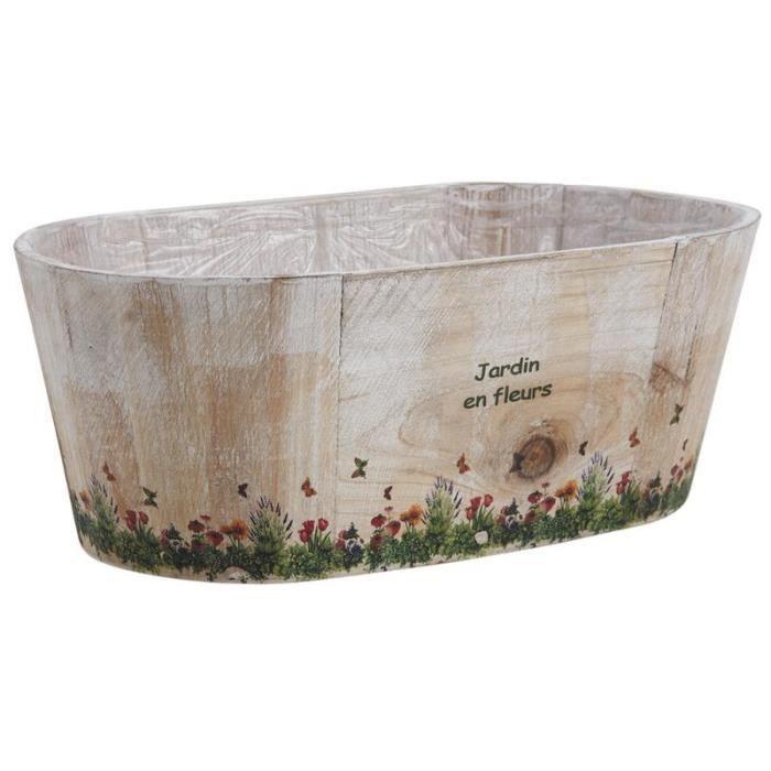 jardini re cache pot ovale en bois jardin en fleur achat vente jardini re pot fleur. Black Bedroom Furniture Sets. Home Design Ideas