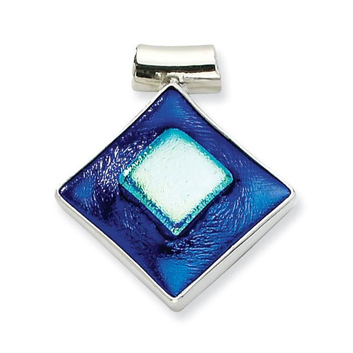 Dichroïque en argent Sterling en forme de diamant bleu en Verre Pendentif