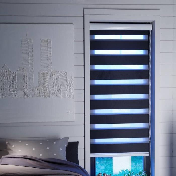 store enrouleur jour nuit noir occultant 60 cm x 160 cm achat vente store de fen tre tissu. Black Bedroom Furniture Sets. Home Design Ideas