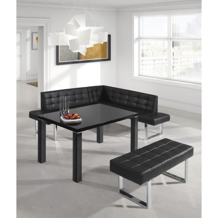 banquette angle gauche coin repas pu noir capitonn. Black Bedroom Furniture Sets. Home Design Ideas
