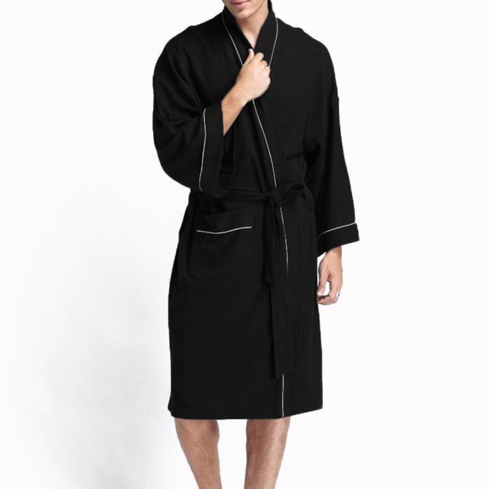 60a410e78fbb6 Peignoir de Bain Homme Femme Robes de SPA-Chambre en Coton Vêtement de Nuit  Léger Sortie de Bain Noir Taille-XL