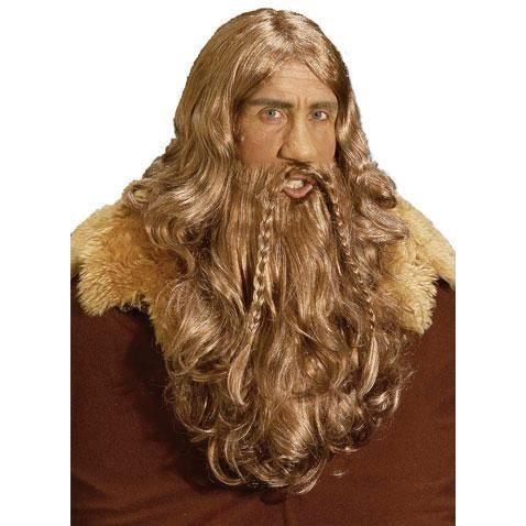 Viking Perruque et barbe châtain