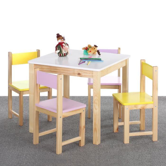 TABLE ET CHAISE Ensemble Table Et 4 Chaises En Bois Pour Enfant M
