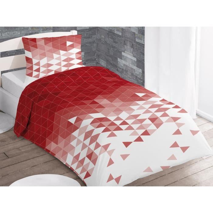 soleil d 39 ocre parure de couette try 1 housse de couette 140x200 cm 1 taie 63x63 cm rouge et. Black Bedroom Furniture Sets. Home Design Ideas