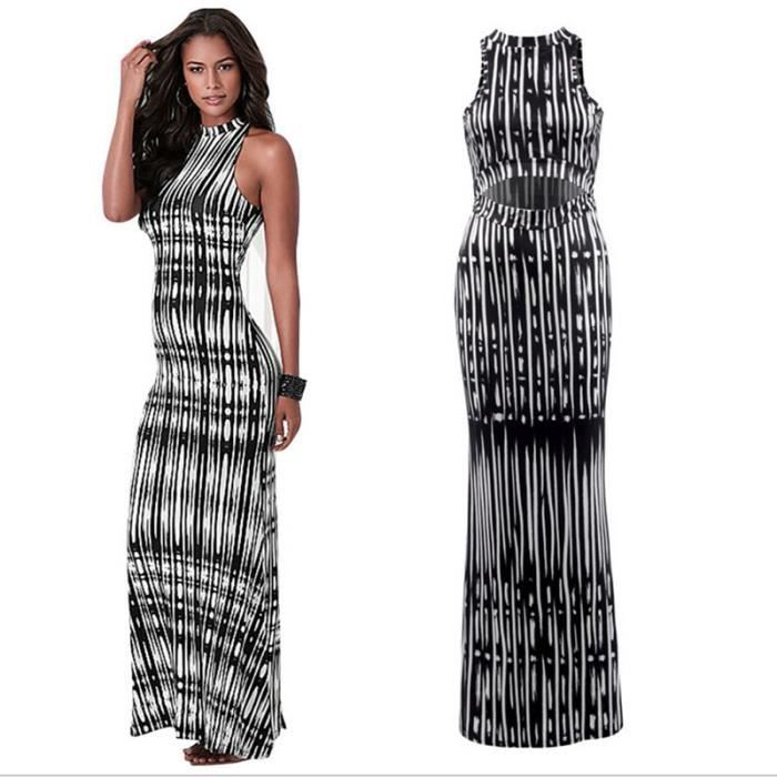 0d146e0ad6b1 robe ete robe noir blanche robe sexy rayure bustier backless robe longue  femme