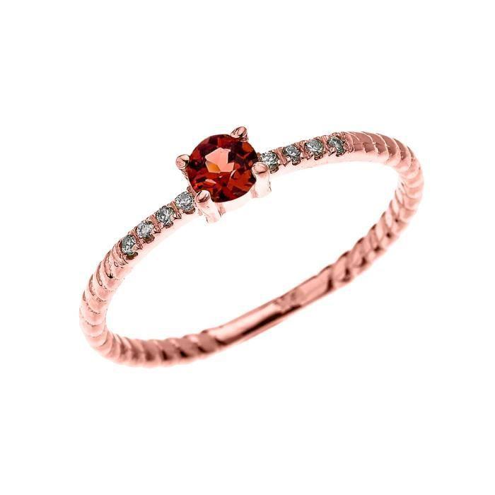 Bague Femme 10 Ct Or Rose Solitaire Grenat Et Diamant Conception De Corde