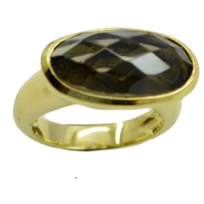 anneau de quartz fumé - anneau brun - Bague en or plaqué - bague plaqué or brun