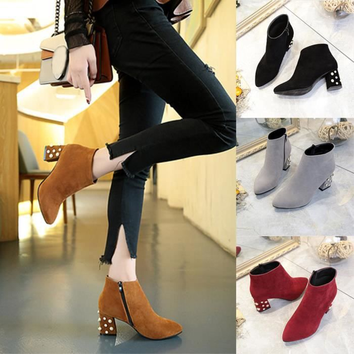noir Chaussures Bottes Occasionnels gris Rouge 1001 Femmes marron Talon Printemps Carré Perle Cheville Sjf71221731 Décoration wTES7Hfq