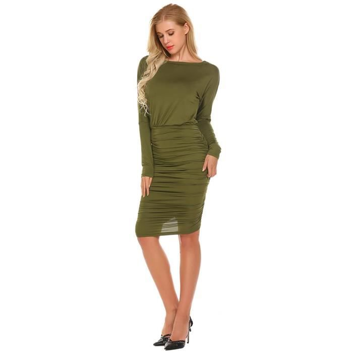 Robe Femmes Solid Casual O-cou manches longues Ruched Slim