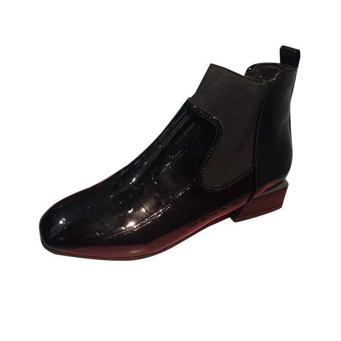 Femmes Bottes Slip Chaussures Casual Verni Cuir Bout Talon Martin Carré Noir Épais rqOBrH