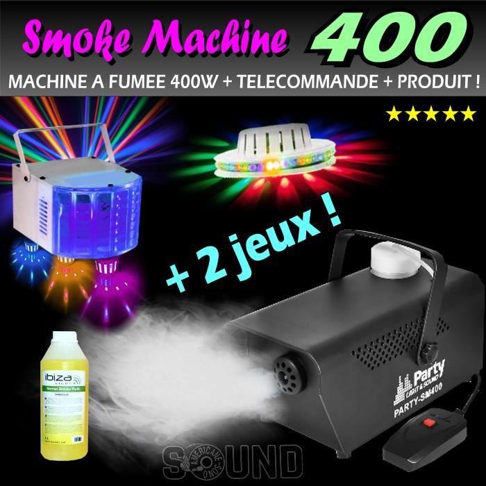 pack dj 2 jeux de lumière + machine a fumee 400w + produit - idéal
