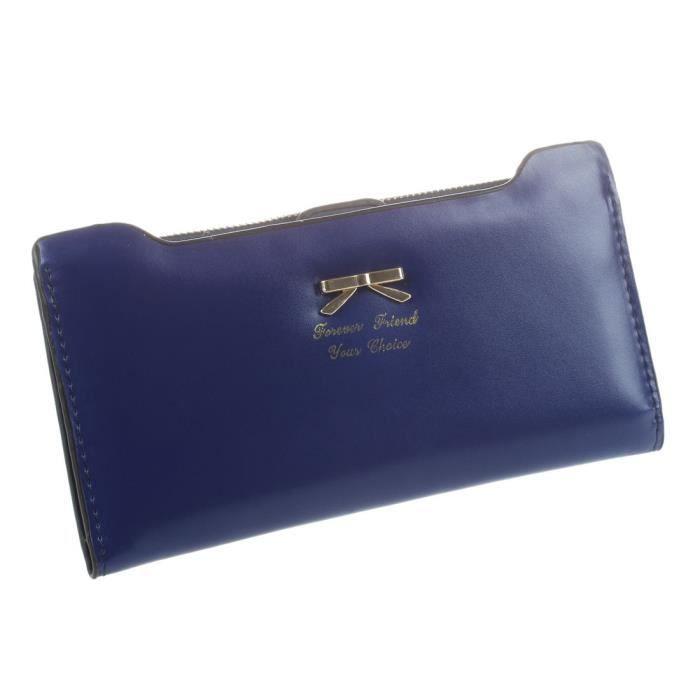 71cdc72480 ... longue wallet carte PU, porte-monnaie pour femme-bleu royal.  PORTEFEUILLE Dame mode en cuir souple arc sac d'embrayage a lon