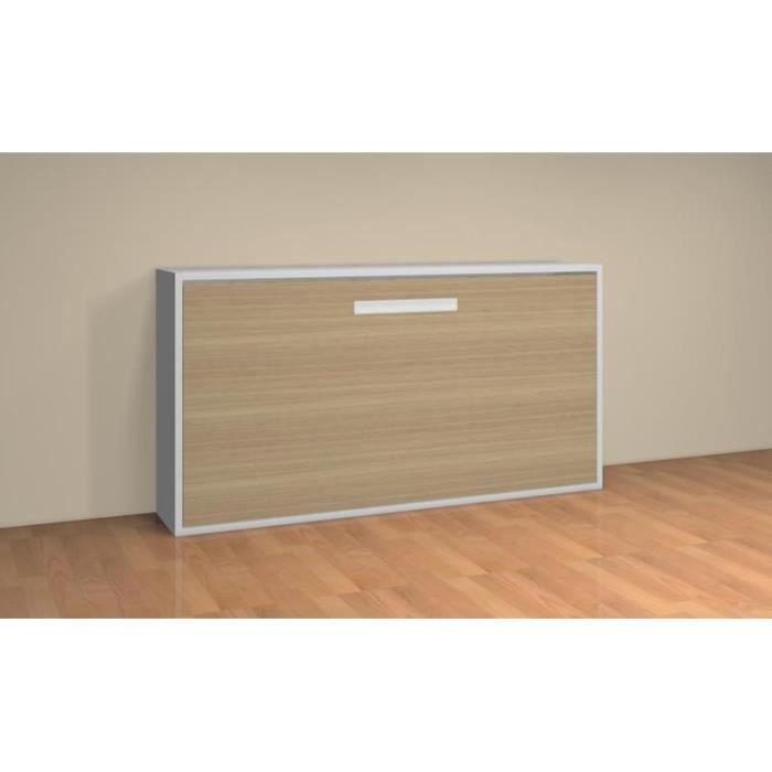 lit relevable horizontal teo 90x190 blanc et ch ne achat vente lit escamotable lit relevable. Black Bedroom Furniture Sets. Home Design Ideas
