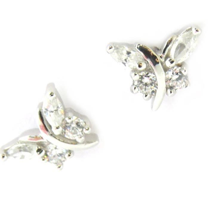 Les Trésors De Lily [M9901] - Boucles Argent Papillons de Charme