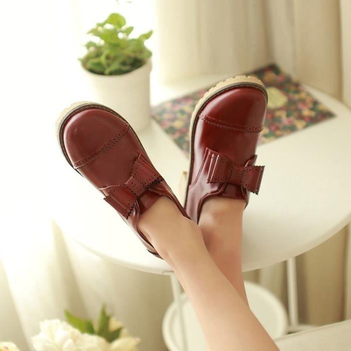 richelieu-Pure Color Thick Heel Low Heel Women ...