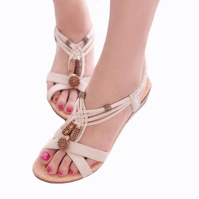 Sandales Bohême de Plage aux Femmes Filles Chaussures Vintage Eté A Plat HEE GRAND REkUDlwne