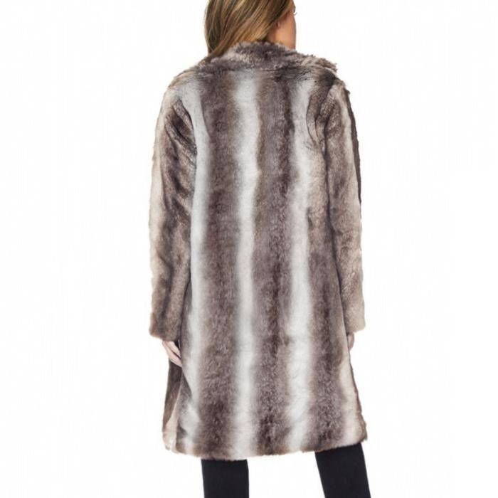 Fourrure Casual Survêtement De Fausse Toison Parka Veste D'hiver Chaud Cardigan marron Manteau Femmes 4FqY1