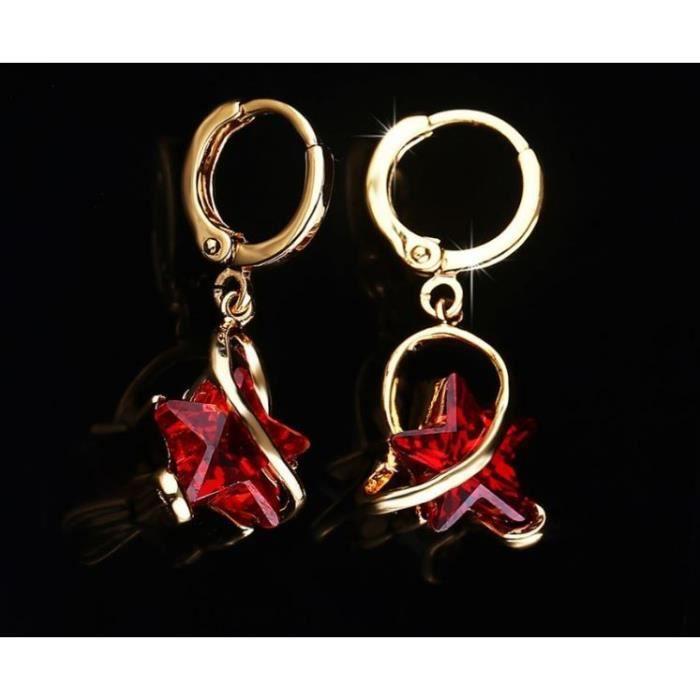 Boucles doreilles anneaux étoile cristal swarovski elements plaqué or Couleur Rouge