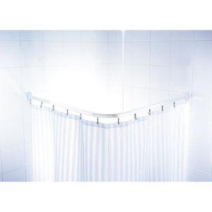 Barre de douche d'angle coulissantes + crochets - 90 x 90 x 90cm - Blanche