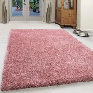 TAPIS Extreme confortable Coton Shaggy Unifarbe-Rose (20
