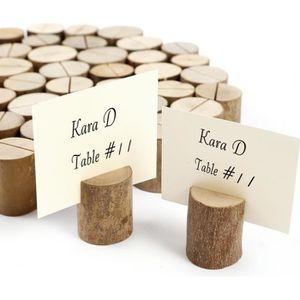 MARQUE-PLACE  50pcs stand en bois cylindrique support photo mémo