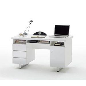 BUREAU  Bureau laque blanc brillant avec 3 tiroirs pieteme
