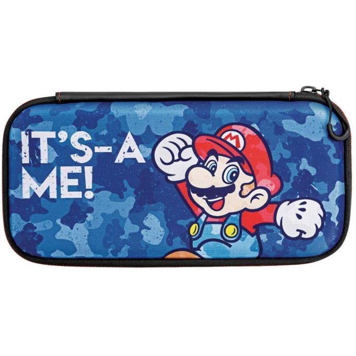 PDP Housse De Voyage Mario Camo Pour Nintendo Switch - Licence Officielle Édition Camouflage Bleu