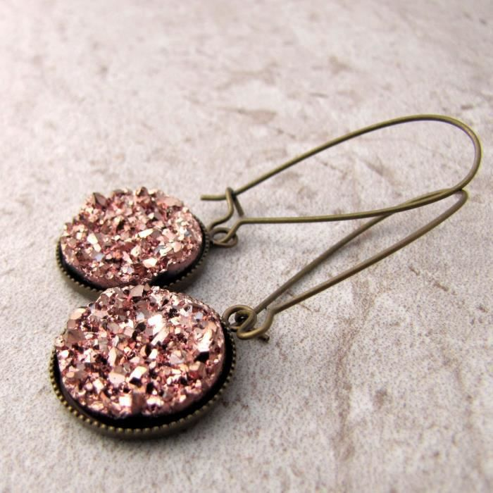 Femmes Grand Or Rose Faux Druzy Bronze Dangles IW4IP