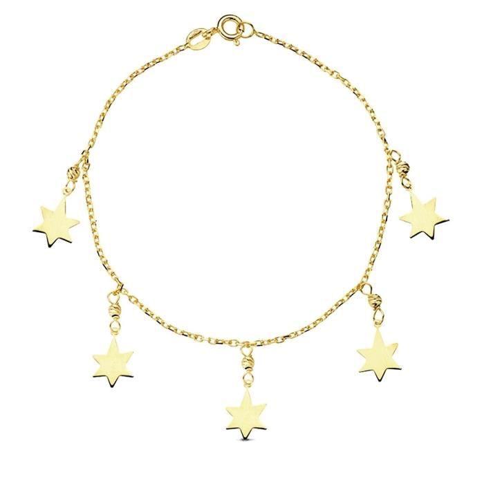 Bracelet 18k fétiches Étoiles dor 18cm. 2.1gr. [AB3189]