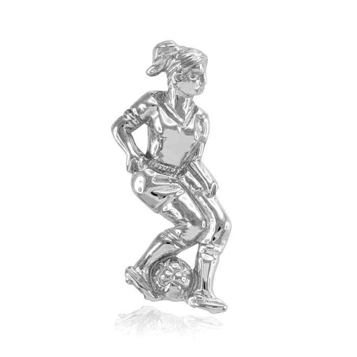 Collier Femme Pendentif 14 Ct Or Blanc Femelle Joueur De Football Sport (Livré avec une 45cm Chaîne)