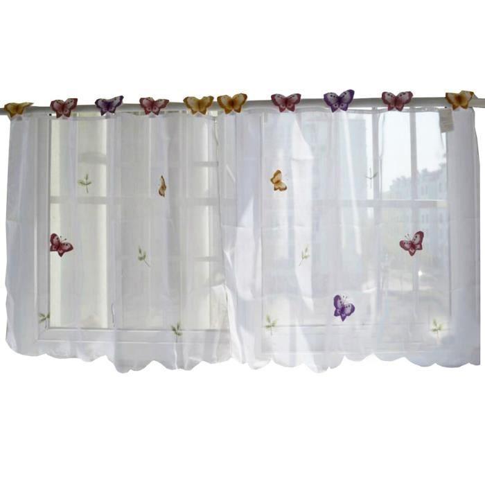 Doux une fleur brod rideau cuisine rideau caf screen 04 - Rideaux pour cuisine design ...