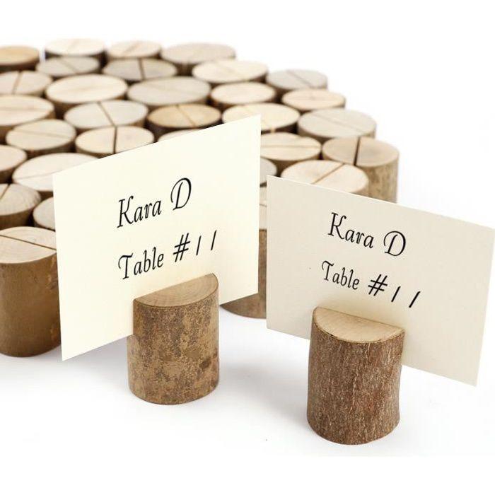 50pcs stand en bois cylindrique support photo mémo carte porte-nom